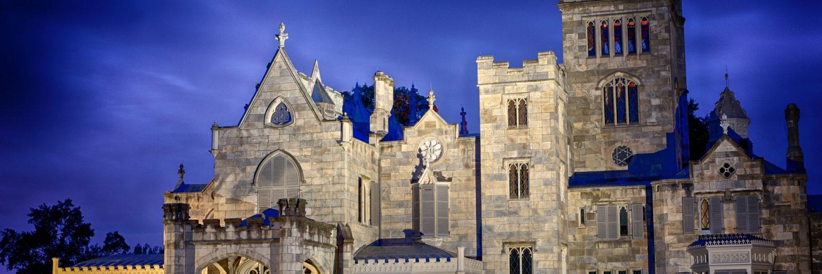 Lyndhurst mansion appears against a moody dark blue sky.