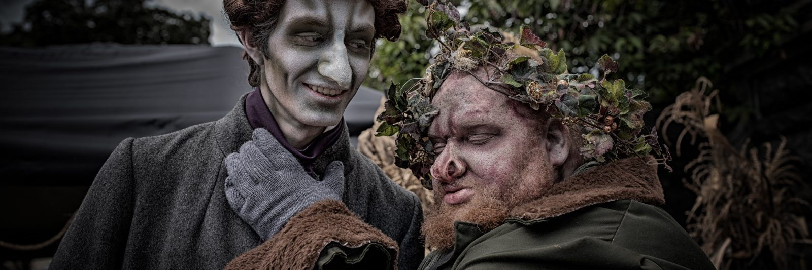 Characters from Horseman's Hollow haunted house pose at Tarrytown Farmers Market.