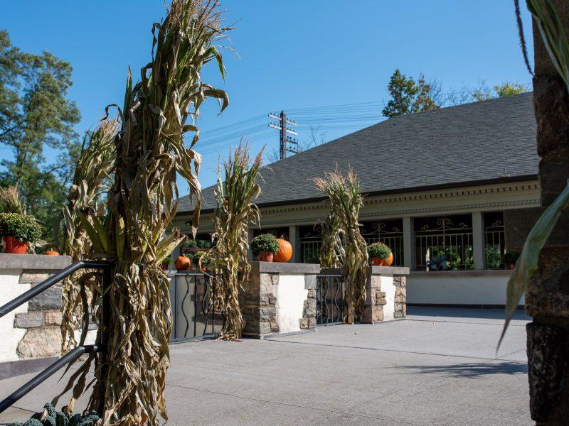 Kathryn W. Davis RiverWalk Center in Sleepy Hollow is decorated with sheaves of corn, pumpkins and chrysanthemums ahead of Oktoberfest celebration.