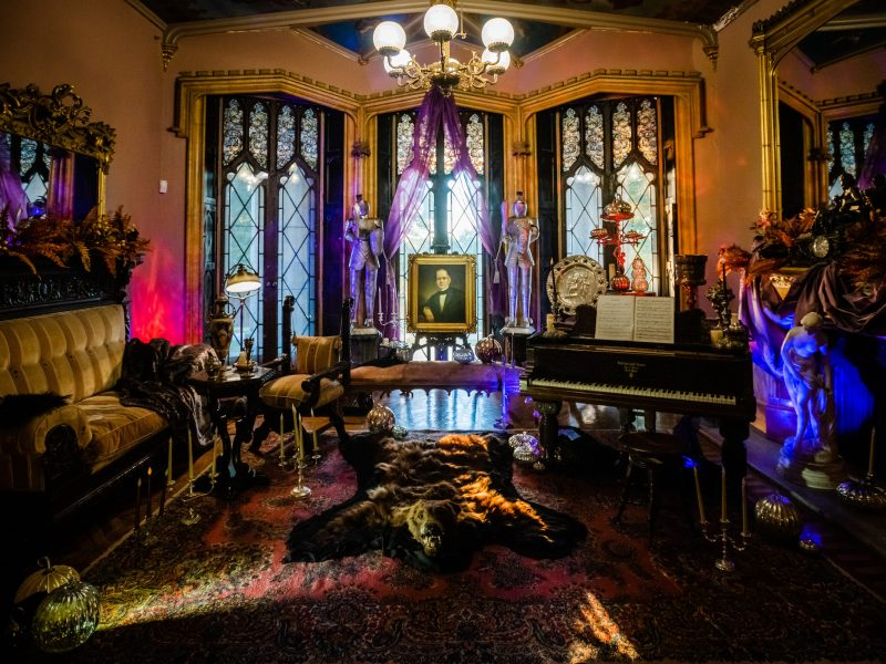 The interior of the music room at Lyndhurst Mansion in Tarrytown, NY.