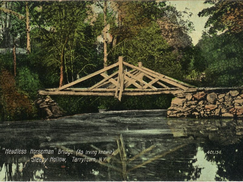 This historic postcard shows the Albany Post Road bridge over the Pocantico River as Washington Irving would have known it.
