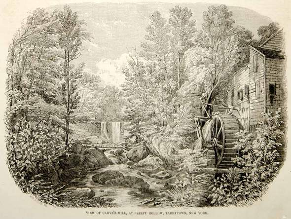 An antique etching of Carl's Mill on the Pocantico River in Sleepy Hollow.