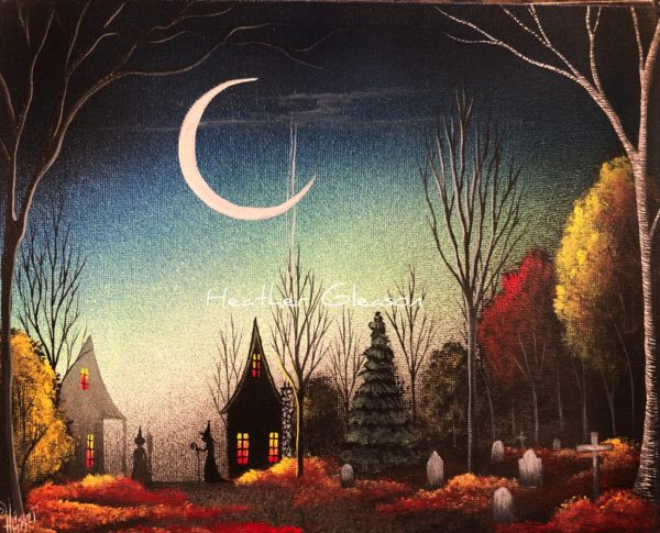 A spooky painting by artist Heather Gleason shows a crescent moon over a pair of cottages beside a graveyard.